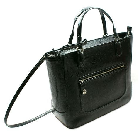 coach swing bag coach poppy patent textured blair tote swing bag black
