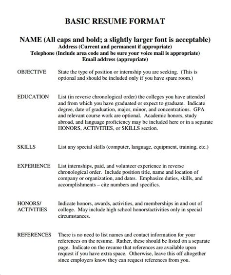 basic sle of resume basic resume template word health symptoms and cure
