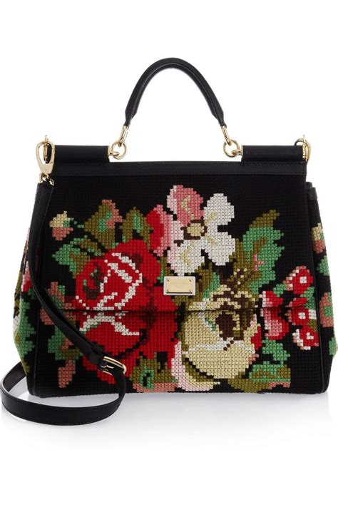 Dolce And Gabbana Wool Felt Cinched Tote by Dolce Gabbana Miss Sicily Wool Tapestry And Leather