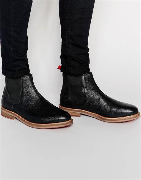 asos asos chelsea boots in black scotchgrain leather at asos