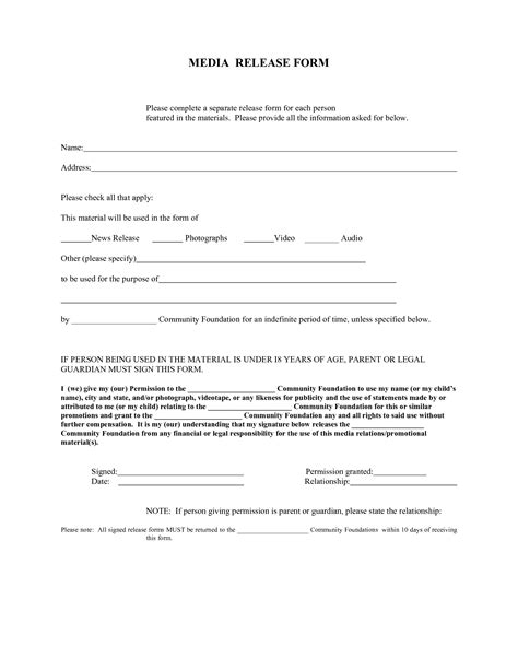 media release form template best photos of media release form template media release