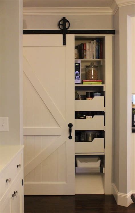 barn door with pull out drawers for storage barndoor