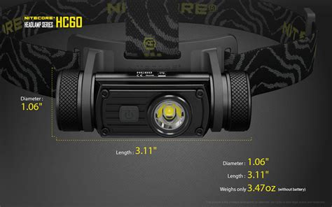 Nitecore Hc60 Headl Series Cree Xm L2 U2 1000 Lumens nitecore hc60 xm l2 u2 1000lm neutral white rechargeable led headlight flashlight alex nld