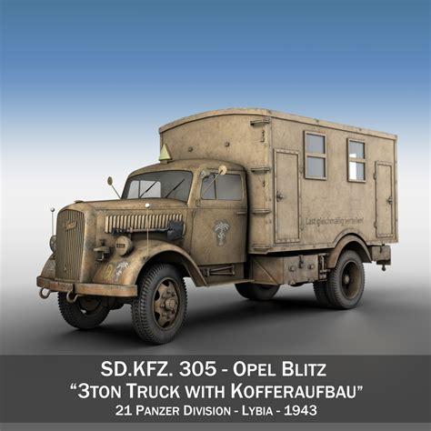 german opel blitz truck opel blitz 3t truck with kofferaufbau 21 pzdiv 3d model