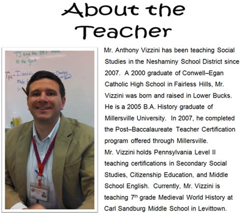 biography of english teacher vizzini mr a social studies teacher biography