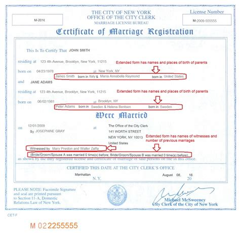 New York State Marriage Certificate Records New York Marriage Certificates For Foreign Use