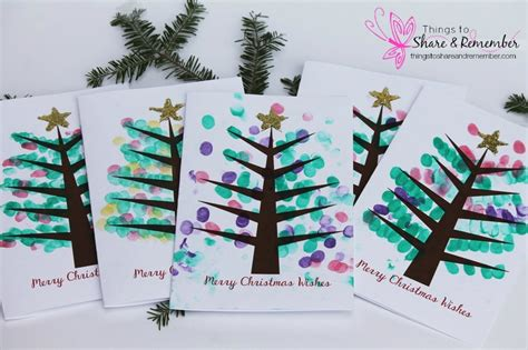 printable christmas cards crafts printable fingerprint christmas tree card