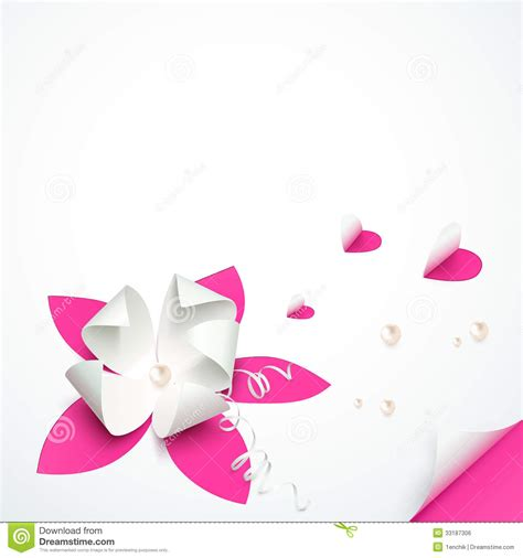 floral paper cut out card template pink paper flowers vector greeting card template stock