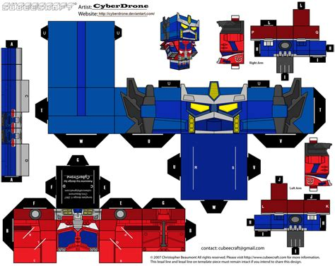 Papercraft Transformers Optimus Prime - cubee optimus prime cybertron by cyberdrone on deviantart