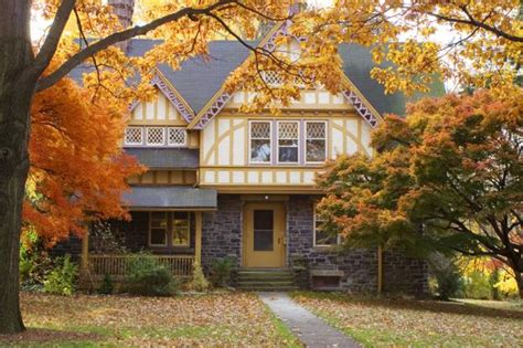 fall colors beautify modern houses  landscape