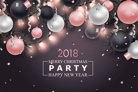 party title for christmas new year with 2018 new year template vector vector background free