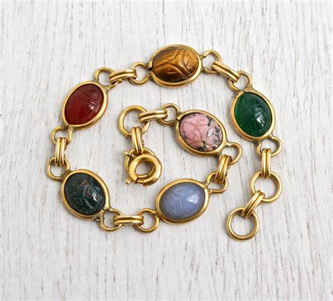 Vintage Scarab Bracelet 12K Yellow Gold Filled Semi Precious