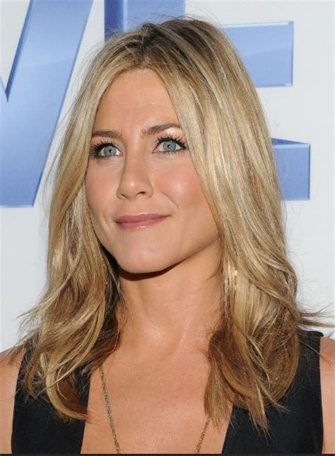 long layered side part hairstyles jennifer aniston layered long center part hairstyle