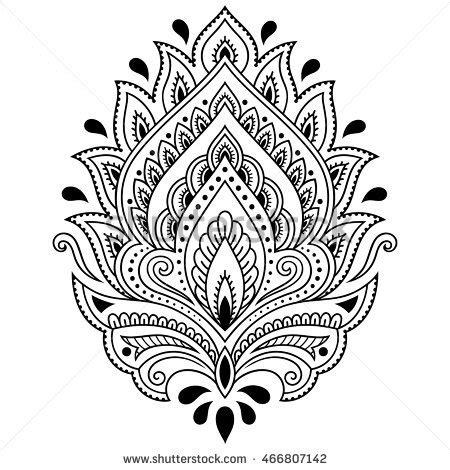 black and white henna tattoo designs vector black white henna illustration stock vector