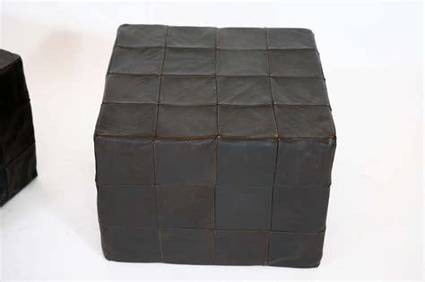 black leather cube ottoman black leather cube ottomans by stendig at 1stdibs