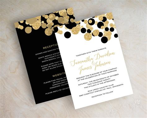 Wedding Invitations Black And Gold by Black And Gold Polka Dot Wedding Invitations Black And Gold