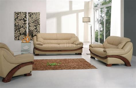 beige leather modern 3pc sofa set w wooden legs accents
