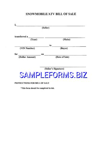 snowmobile bill of sale atv bill of sale template sles forms