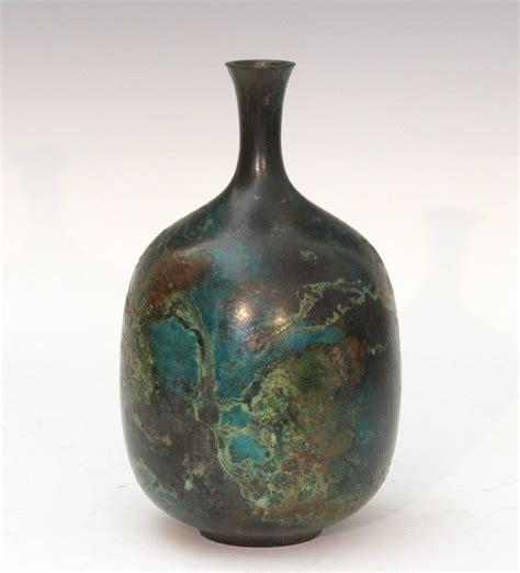 Bottle Vases by Vintage Japanese Green Patinated Bronze Bottle Vase At 1stdibs