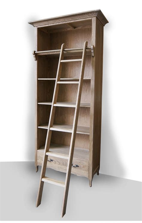 French Provincial Library Bookcase In Natural Oak With Bookcase With Ladder