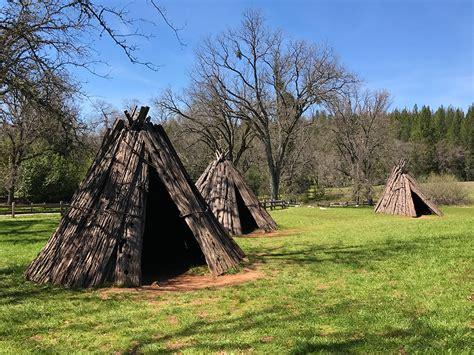 miwok houses indian grinding rock state historic park in pine grove california