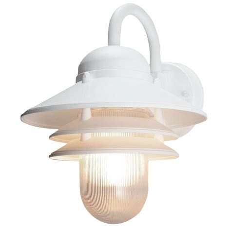 Outdoor Coastal Lighting Newport Coastal Marina White Outdoor Wall Mount L 7972 10w The Home Depot