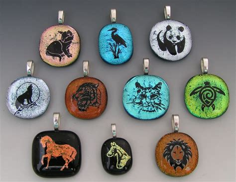 how to make glass jewelry custom laser etched animal dichroic fused glass pendants