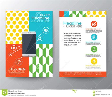 Graphic Design Layout With Smart Phone Concept Template Stock Vector Illustration Of Booklet Graphic Flyer Templates Free