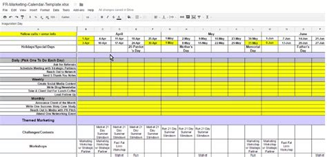 marketing schedule template marketing calendar checklist fitness revolution