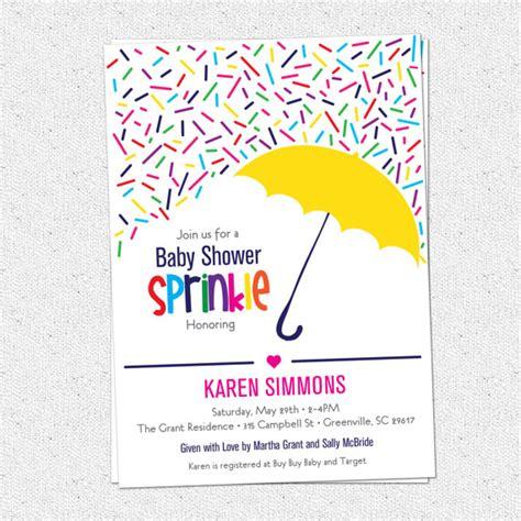 Sprinkle Shower Invites by Sprinkle Baby Shower Invitation Raining Rainbow Sprinkles And