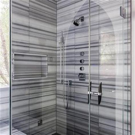 shower with black and white stripe tiles contemporary bathroom