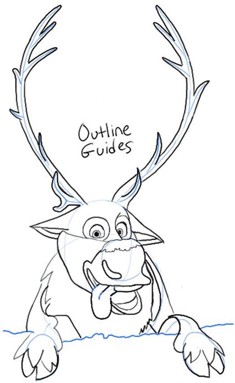Sven Outline by Step Step09 Sven From Frozen How To Draw Sven The Reindeer From Frozen Step By Step Tutorial