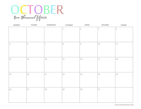 October 2015 Calendar Word Template 2017 Printable Calendar Microsoft Word 2015 Calendar Template