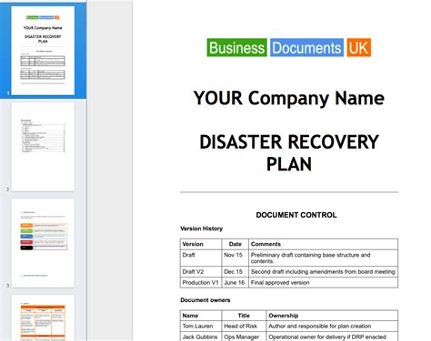 it disaster recovery plan template disaster recovery plan template essential cover