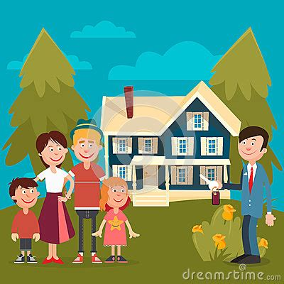 buying a house from family happy family buying a new house stock vector image 75061013