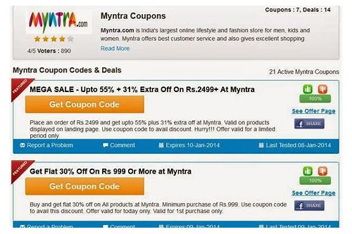 latest coupon code for myntra