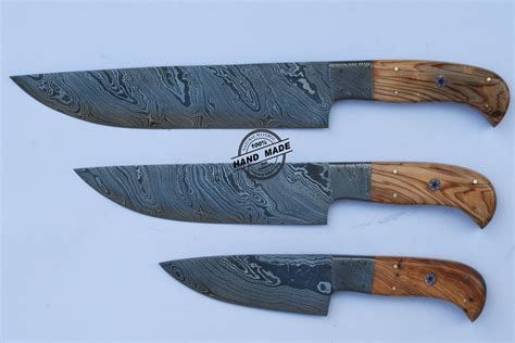 Handcrafted Knife - lot of 3 pcs professional chef knife custom handmade damascus