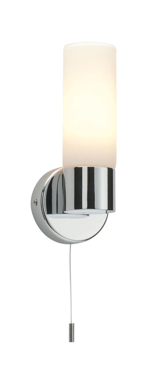 Bathroom Light Pull Cord Saxby Single Bathroom Wall Light Pull Cord Switch Chrome Glass 40w E14 Ebay