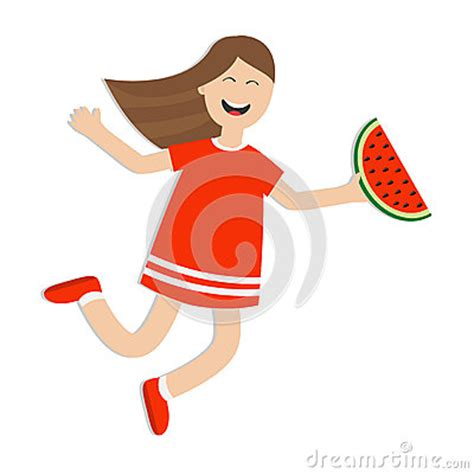 Jumping Beans Gir Watermelon Pink 2d jumping isolated happy child jump laughing character in dress holding