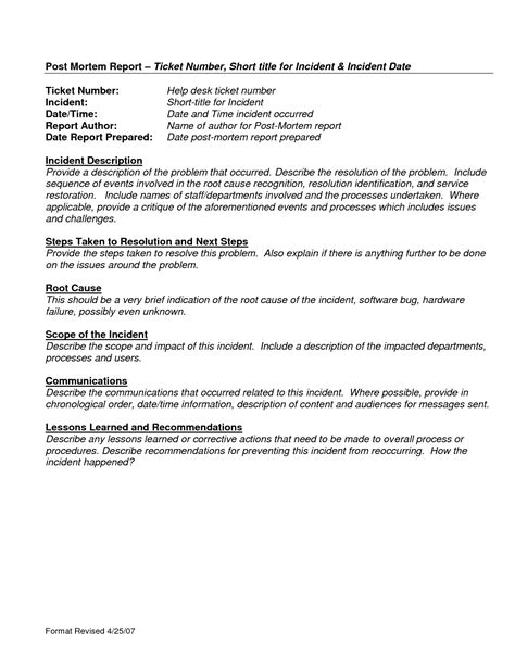 event post mortem report template best photos of help desk incident report template