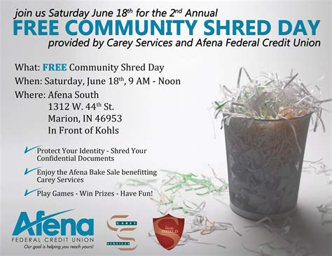 Forum Credit Union Shred Day 2016 Carey Services Afena Community Shred Day June 18