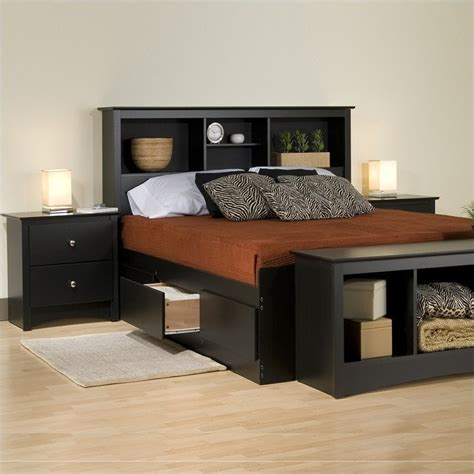 platform bedroom sets king prepac sonoma black king platform storage bed 4 pc bedroom