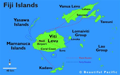 fiji islands map fiji touristische karte