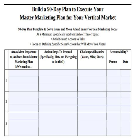 12 Sle 90 Day Plan Templates Sle Templates 90 Day Planner Template