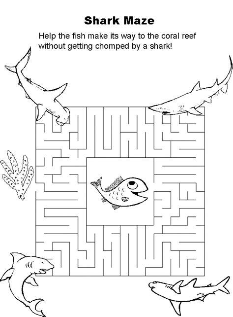 printable shark maze shark maze