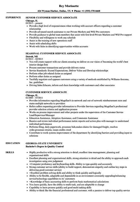 customer service associate resume sles velvet jobs