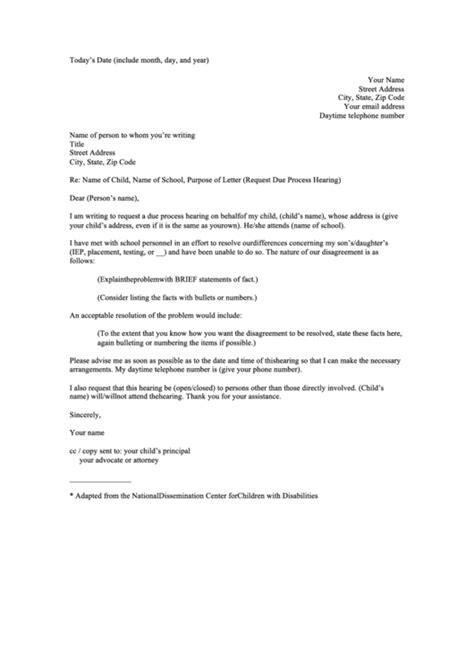 Request For Hearing Sample Letter printable pdf download