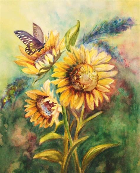 Original Mesin Jahit Butterfly Ja 1 original watercolor painting butterfly with sunflowers