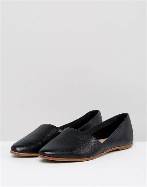aldo flat shoes uk lyst aldo blanchette black leather flat shoes in black