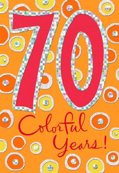 Colorful Circles 70th Birthday Card   Greeting Cards
